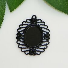 25x18 Oval Black Enamel Plated Cabochon (Cab) Drop Setting (C1-04)