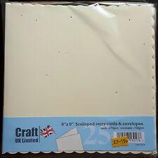 "Craft UK Ltd - Pack of 25 IVORY 8"" x 8"" Cards & Envelopes - Scalloped Edge"