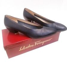 Vintage Salvatore Ferragamo Boutique Navy Blue Calf Leather Dorata Pumps Sz 10 B