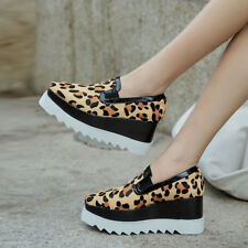 Womens Fashion Horse Hair Platform Shoes Leopard Print Wedge High Heels Creeper