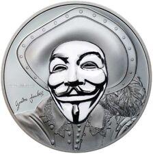 2017 1 oz Argent Historique Guy Fawkes Masque II Anonymous Pièce de Monnaie
