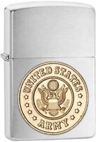 Zippo Chrome US Army Gold Crest Logo Lighter