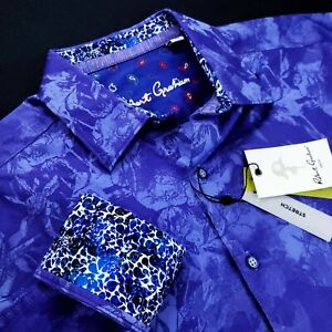 Robert Graham Geometric Paisley Artwork Print Blue Purple Sports Shirt $250