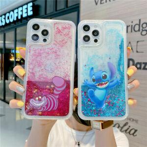 For iPhone 12 11 Pro Max XS 6 7 8+ Cute Cartoon Stitch Glitter Liquid phone case