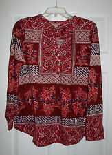 Lucky Brand Womens XL Red Knit Floral Print Henley Tunic Top Long Sleeve NWT