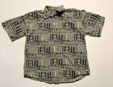 Orvis Large Short Sleeve Tribal Aztec Pattern Button Down Collar Shirt