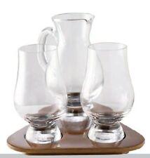 Tasting Set 2 x Glencairn Whisky Glass + Wasserkrug Holztablett Whiskey Stölzle