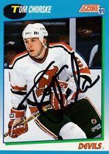 TOM CHORSKE, NEW JERSEY DEVILS, RARE AUTO'D/SIGNED NHL CARD.