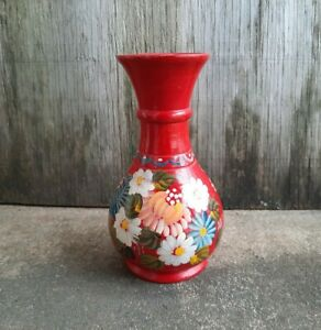 Vintage Folk Art Hand Turned Wooden Vase Hand Painted Red with Flowers