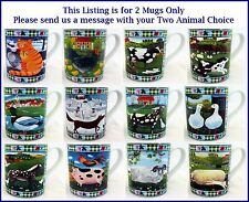 Funny Animals Farm Mugs Set of 2 Porcelain Cute Scenes Mugs Hand Made in the UK