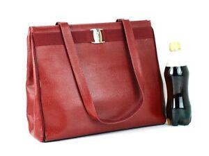Salvatore Ferragamo Vara Caviar Red Leather Tote Hand Bag Shoulder Bag Purse