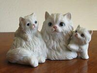Vintage HomCo Porcelain Ceramic Cat Figurine White Persian Mother & Kittens 1412