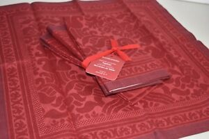 NEW Williams Sonoma Set of 4 MADISON JACQUARD Cotton Linen Napkins Garnet Red