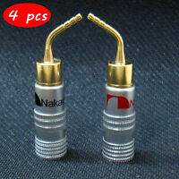4pcs 24k Gold-plated Speaker Wire Nakamichi Pin Connectors Banana Plug Brass
