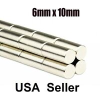lot 100 50 6mm X 10mm Neodymium Disc Strong Rare Earth N50 Small Fridge Magnets