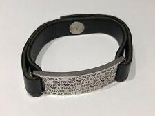 Pulsera Bracelet EMPORIO ARMANI - Plata & Piel Negra - Silver & Black Leather