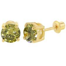 18k Chapado en Oro Engarzado Cristal Verde Agosto de Rosca Pendientes 6mm