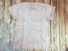 Reiss Women's Ladies Short Sleeve Crew Neck Mesh Pink T-shirt Blouse Top M