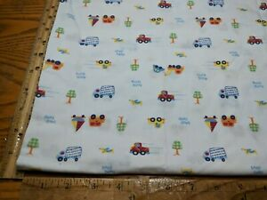 """TRACTOR TOW TRUCK CAR BEEP BEEP HONK HONK COTTON FABRIC BY THE 1/2 YD 45"""" W"""