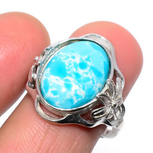 Larimar Gemstone 925 Sterling Silver Jewelry Ring s.Ad R481-197