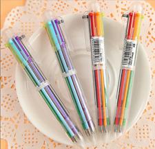 Rainbow Ballpoint School Supplies 6 in 1 Color Click Pen Writing Instruments