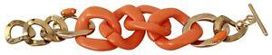 ERMANNO Street Bracelet Brass Plastic Gold Orange Chain Wide
