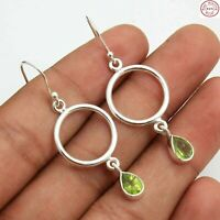 """Free Shipping Solid 925 Sterling Silver Peridot Quartz Jewelry Earring 1.75"""""""