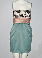 New XXI Size S Peach/Teal/Cream Strapless Side Zipper Closure Tube Dress