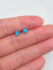 925 Sterling Silver Tiny Blue Opal Stud Earrings 3.5mm