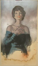 Vintage HOWARD CONNOLLY 'Woman in Dress' PULP Book ILLUSTRATION PAINTING -LISTED