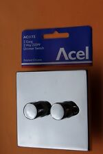 Acel AL1172 Die Cast Dimmer 2G 2 way 60-250w push on/off rotary Polished Chrome