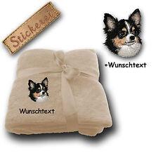 Flauschige Kuscheldecke Langhaar Chihuahua + Wunschtext, Stickerei, 180x130cm
