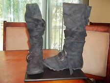 Gabriella Rocha Vesper Black Micro Suede Slouch Boots Size 6.5 **Worn Once**