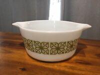 Vintage 1966 Autumn Floral Verde Promo Pyrex 474-B 1 1/2 QT Casserole Dish Cool!