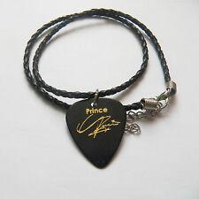 "PRINCE guitar pick plectrum braided twist LEATHER NECKLACE 20"" BLACK"