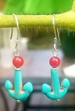 Peruvian Turquoise dangle style  earrings ,Sterling silver 925'  Nautical