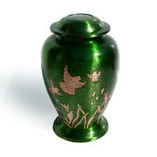 Green Adult Funeral Urn for Cremation Ashes,Birds Engraved Cremation Adult Ashes