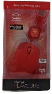 ReTrak - Retractable USB Optical Mouse Colors: Red