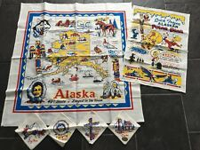 Vtg Alaska Souvenir Linen Tablecloth Dish Tea Towel and 4 Napkins New Unused