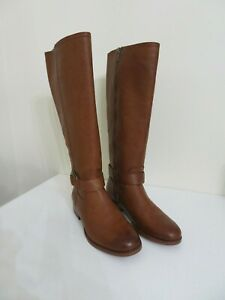 FRYE & CO WIDE CALF COGNAC LEATHER SIDE ZIP TALL BOOTS ADELAIDE 6.5