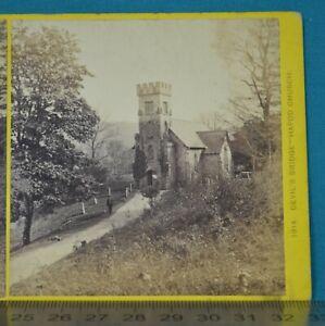 1860s Stereoview Photo Devil's Bridge Illustrated Hafod Church Francis Bedford