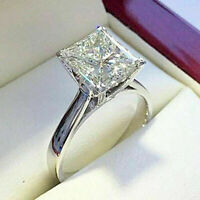 14k White Gold Finish 2.00 ct Princess Cut Diamond Solitaire Engagement Ring