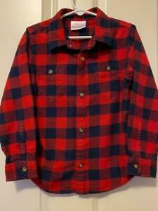 HANNA ANDERSSON Long Sleeve Button Up Plaid Flannel Shirt NAVY & RED 100 cm US 4