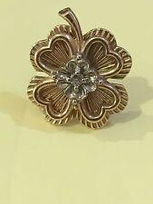 IRISH  14K GOLD DIAMOND LUCKY IRELAND CLOVER PIN BROOCH