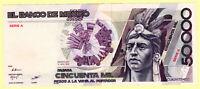 MEXICO 50,000 PESOS 1986 UNC BANKNOTE PICK #93a SERIE A PREFIX AA [183]