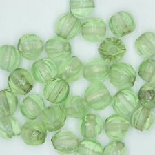 Glass Beads Pale Green Transparent Fluted Round 9mm. Pack of 30. Made in India.