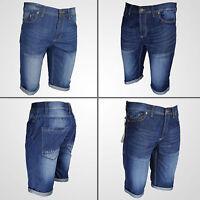 Mens Denim Chino Shorts Summer Half Pant Casual Jeans Cargo Combat Denim roll up