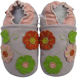 carozoo soft leather toddler shoe 3 flower leaf  purple 2-3y