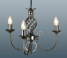 CLASSIC GUN METAL FINISH 3 LIGHT CEILING LIGHT FITTING