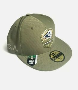 New Era NFL Los Angeles Rams 59Fifty OF 2019 Salute To Service Fit Hat  SZ 7 7/8